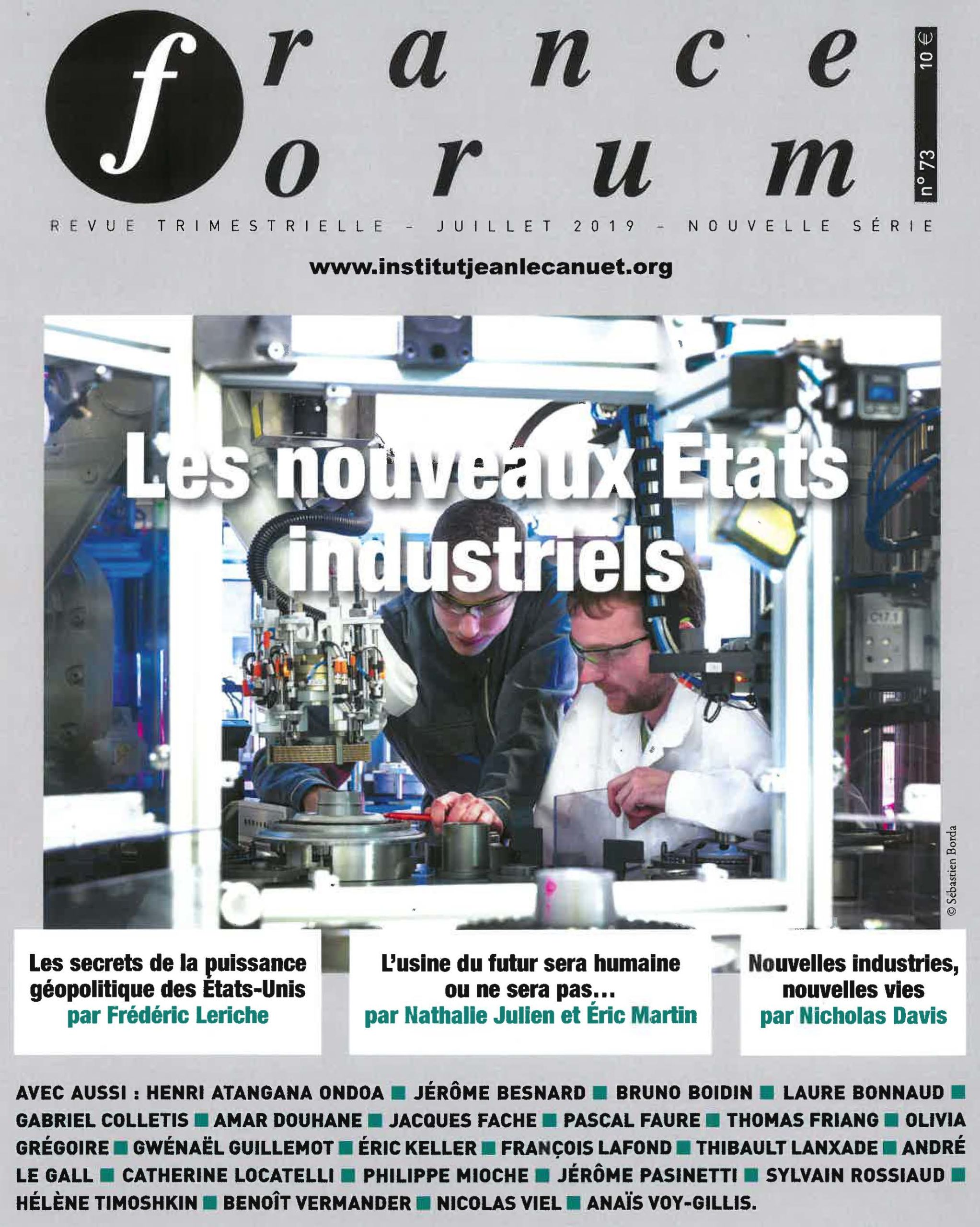 Parution France Forum – Enseigner l'industrie du futur, un enjeu majeur